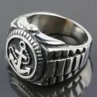 Men's Women's Flat Face Stainless Steel Anchor Watch Biker Finger Ring Rings