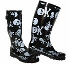 Ladies New Skull Cross Bones Black White Wellington Wellies Goth Flat Boots Snow