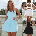 Women's Sexy V-neck Sleeveless Heart Shape Hollow Out Mini Dress Beach Sundress