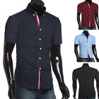 Mens Soft Cotton Casual Dress Shirt Business Short Sleeve Fashion Slim Fit Tops