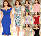 Womens Summer Elegant Vintage Mermaid Off Shoulder Party Prom Bodycon Dress 591