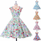 VINTAGE RETRO 50's STYLE COTTON FLORAL FULL CIRCLE DRESS PARTY SWING BRIDESMAIDS