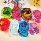 Women Girl Gradient Rainbow Voile Chiffon Soft Scarf Neck Wrap Stole Shawl LJ