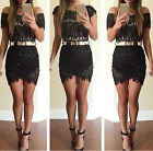 Fashion Womens Lace Splicing  Short Sleeve Slim  Dress Evening Party Cocktail