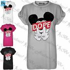 Womens Ladies Finger Micky Dope Print Baggy Oversize Short Sleeve Tee T Shirt