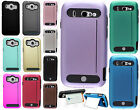 For Us Cellular ZTE Imperial 2 TPU HARD Hybrid Card Kickstand Skin Case Cover