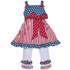 AnnLoren Girls American 4th of July Patriotic Outfit sz 12/18 mo - 9/10