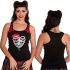 Hell Bunny Ribcage Vest Tank Top Heart Short Gothic Rockabilly Pin Up