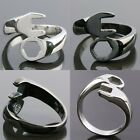 Man's Tool Curved Spanner Wrench Silver Black Color Stainless Steel Finger Ring