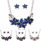 Flower Pendant Bib Statement Chunky Crystal Necklace Earrings Set Womens Jewelry