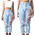 Good Women High Waist Destroyed Boyfriend BF Jeans Ripped Denim Hole Pants WBUS