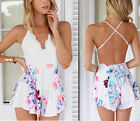 Sexy White V Neck Bandage Jumpsuit Summer Beach Casual Floral Playsuit Rompers