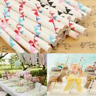25x Biodegradable Paper Colorful Flag Drinking Straws Birthday Wedding Party