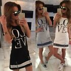 New Summer Women's Love Letters Print Casual Mini Dress Bodycon Sundress Fashion