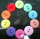 10 x Resin Medium Round Buttons 23mm - 2 holes - various colours blue pink green