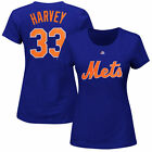 Women's Majestic Matt Harvey Royal Blue New York Mets Name & Number T-Shirt