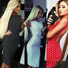 2015 New Summer Sexy Backless Cute Dot Pencil Dress Women Clubwear Bodycon Dress
