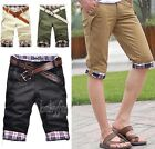 New Summer Men's Fashion Casual Plaid Pleated Pockets Cropped Zip Shorts Pant BY