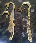 Bronze nautical steampunk bookmark letter opener with charm mermaid or dolphin