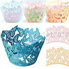 60x Wedding Baby Shower Butterfly Vine Lace Cupcake Wrappers Cake Decorations