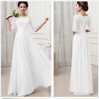 Free Womens Long Chiffon Maxi Evening Party Cocktail Lace Wedding Dress 6 Colors