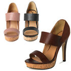 TheMogan Double Strap Wooden Platform High Heel Sandals