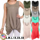 *CLEARANCE* Women's Long Basic Tunic Tank Top with Knot on Hemline USA SML Plus