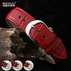 Women's genuine leather watch band for Omeg- Longine- 12 14 16 18 20 22mm red