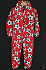 Kids Football Onesie Age 1-4 Years Baby Football Sleepsuit Pyjama Red or Blue