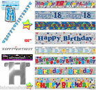 New Boys Happy Birthday Holo text banners party decoration accessories