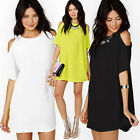 Womens Ladies NEW Cut Out Shoulder Tee Tops Short Sleeve New Plain T-shirt S-2XL