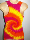 LADIES TIE DYE DYED RACER BACK SINGLET TOP HIPPY RAVE DOOF PSY SIZE 6