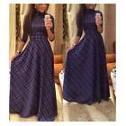 Celeb Women Long Sleeve Plaids Print High Waist Ladies Casual Slim Long Dress LJ