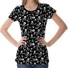 Black Skulls And Bones Pattern Womens Ladies Short Sleeve Top Shirt Blouse