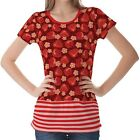 Red Strawberry Pattern Womens Ladies Short Sleeve Top Shirt Blouse