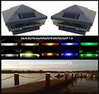 Solar Post Cap Deck Fence LED Lights 5x5 or 6x6 Painted Hammered Grey 4 Pack
