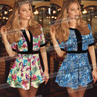 Womens Sexy Leopard Party Evening Cocktail Casual Club Skater Mini Dress 5090
