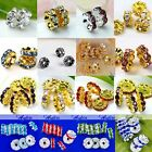 10x Rondelle Round Crystal Charms Loose Spacer Beads Jewelry Findings Making DIY