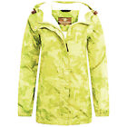 LADIES 100% WATERPROOF BREATHABLE JACKET lime green print windproof kagool S-XXL
