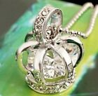 EN4 Silver Plated Women Girl Necklace Rhinestone Diamond Crown Long Necklace new