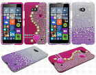 For Nokia Lumia 640 Crystal Diamond BLING Protector Hard Case Phone Cover