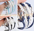 1x Silver Plated Love Tap Infinity Anchor Leather Rope Cuff Bracelet Bangle Gift