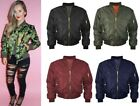 Ladies MA1 Classic Padded Bomber Jacket Top Gun Vintage Zip Up Biker Coat Womens
