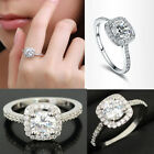 Womens Jewelry 9K White Gold Plated Zircon Crystal Engagement Wedding Ring Gift