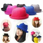 Retro Lady Women Devil Hat Kitty Cat Ears Wool Derby Bowler Cap Cloche Woolen