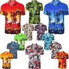 NEW MENS HAWAIIAN SHIRT FLORAL PRINT TOP PLUM BEACH ISLAND PARTY HOLIDAY FLOWER