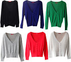 Summer Ladies Knit Cotton long Sleeve Button Cropped V Neck Casual Cardigan Top