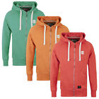 Mens Crosshatch Zip Hoodie Embroidered Hooded Jumper Sweat Hoody Casual Ribbed