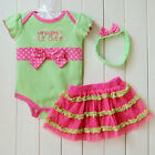 Sweet Infant Girl Dot Bowknot Headband+Romper Bodysuit +TUTU Outfit Dreass M59