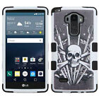 For Boost Mobile LG Tribute 2 Rubber IMPACT TUFF HYBRID Case Skin Phone Cover
